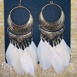 Ava & Aiden Gold Feather Drop Earrings